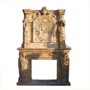 Double Antique Travertine Fireplace Mantel Supplier