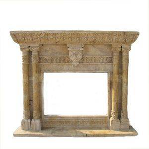 Classical Sculpture Travertine Fireplace Mantel Supplier