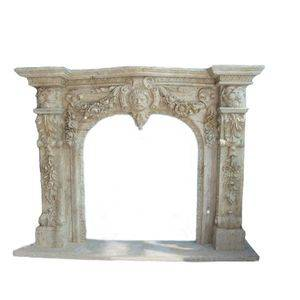European Light Travertine Fireplace Mantel Supplier