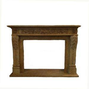 Golden Decorative Travertine Fireplace Mantel Supplier