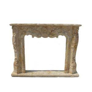 Hand Carved Travertine Stone Fireplace Mantel Exporter