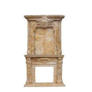 Double Layers Travertine Stone Fireplace Mantel Factory