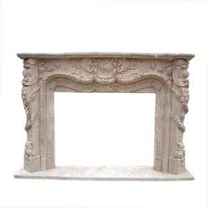 Western Cheap Travertine Stone Fireplace Mantel Manufactuer
